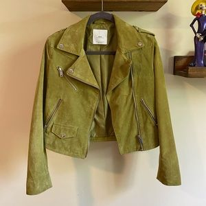 MNG Suede Genuine Leather Jacket in Lime